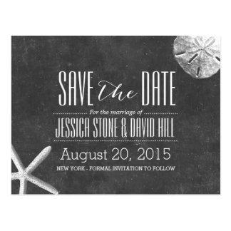 Chalkboard Starfish & Sand Dollar Save the Date Postcard