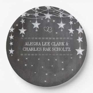 Chalkboard Stars Style Fancy Borders 9 Inch Paper Plate