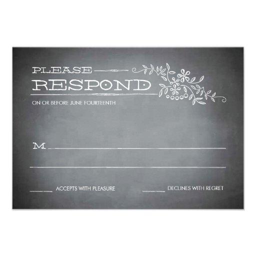 Chalkboard Stencil White Response Invitations