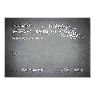 Chalkboard Stencil White Response 3.5x5 Paper Invitation Card