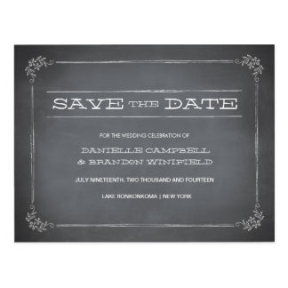 Chalkboard Stencil White Save the Date Postcard