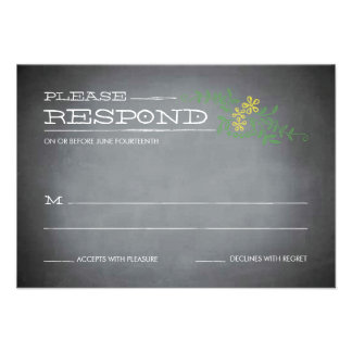 Chalkboard Stencil Yellow Response Personalized Announcement