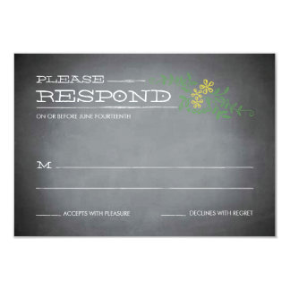Chalkboard Stencil Yellow Response 3.5x5 Paper Invitation Card