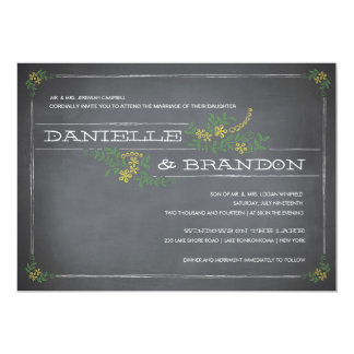 Chalkboard Stencil Yellow Wedding Invitation
