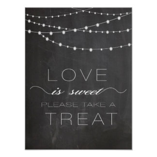 Chalkboard string lighs LOVE is Sweet Sign