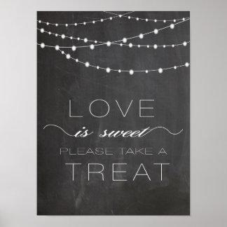 Chalkboard string lighs LOVE is Sweet Sign Posters