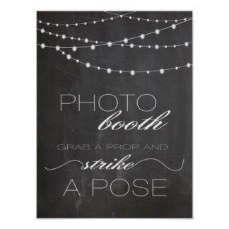 Chalkboard string lighs Photo booth wedding sign