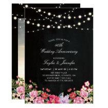 Chalkboard & String Lights 40 Wedding Anniversary Invitation