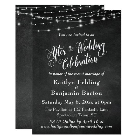 After The Wedding Invitations: Chalkboard String Lights After Wedding Celebration