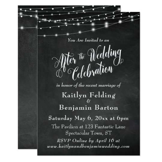 After Party Wedding Invitations: Chalkboard String Lights After Wedding Celebration