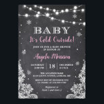 "Chalkboard String Lights Baby It's Cold Outside Invitation<br><div class=""desc"">Chalkboard String Lights Baby It"
