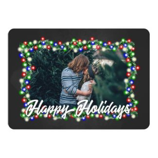 Chalkboard String Lights Happy Holidays Photo Card