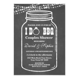 Chalkboard String Lights I DO BBQ Mason Jar Invite