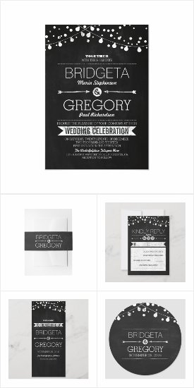 Chalkboard String Lights Modern Wedding Invites