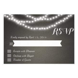 Chalkboard string lights RSVP Cards Personalized Invitations