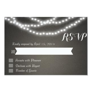 Chalkboard string lights RSVP Cards