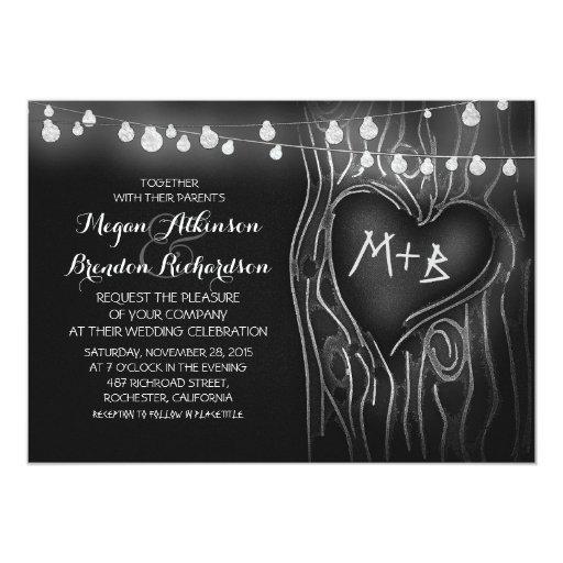 chalkboard string lights tree romantic wedding card