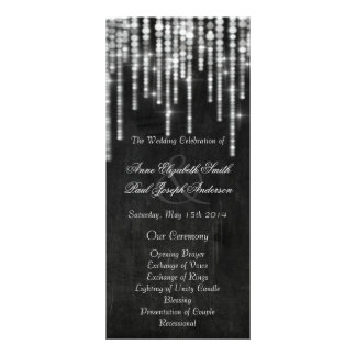 Chalkboard string lights wedding programs