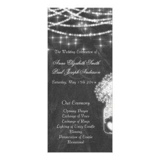Chalkboard string lights wedding programs III