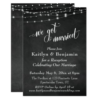 Chalkboard String Lights Wedding Reception Only Invitation