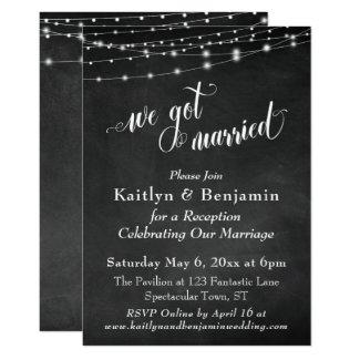Chalkboard String Lights Wedding Reception Only Invitation