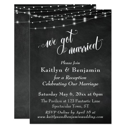 chalkboard string lights wedding reception only invitation zazzle com