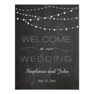 Chalkboard string lights Welcome wedding sign Poster