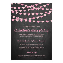 Chalkboard String Love Heart Valentine's Day Party Card