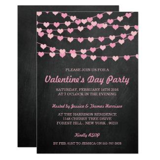 Chalkboard String Love Heart Valentine's Day Party Invitation