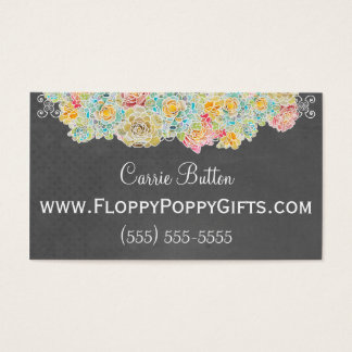 Chalkboard Style Calling Card w/ Floral Accent -