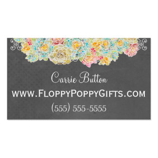 Chalkboard Style Calling Card w/ Floral Accent - Double-Sided Standard Business Cards (Pack Of 100)