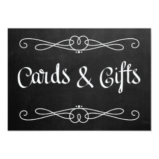 "Chalkboard Style ""Cards and gifts"" Wedding Sign Card"