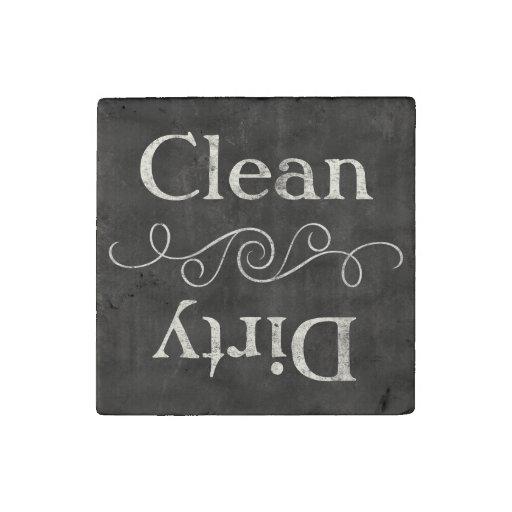 Chalkboard Style Clean/Dirty Dishwasher Kitchen Stone Magnet