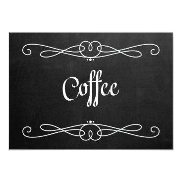 "Coffee Themed Chalkboard Style ""Coffee"" Wedding Sign Card"