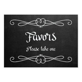 "Chalkboard Style ""Favors"" Wedding Sign Card"
