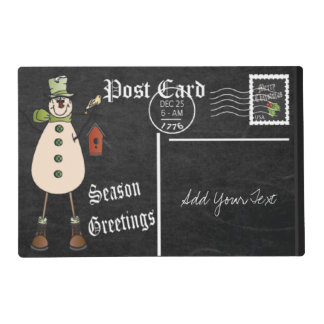 Chalkboard Style Green Snowman Postcard Design Placemat
