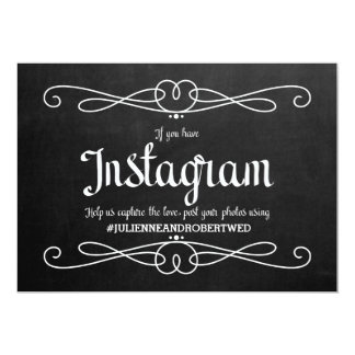 "Chalkboard Style ""Instagram Hashtag"" Wedding Sign Card"