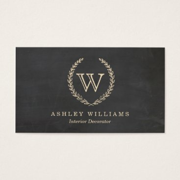Professional Business Chalkboard Style Monogram Business Cards