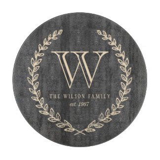 Chalkboard Style Monogram Cutting Board