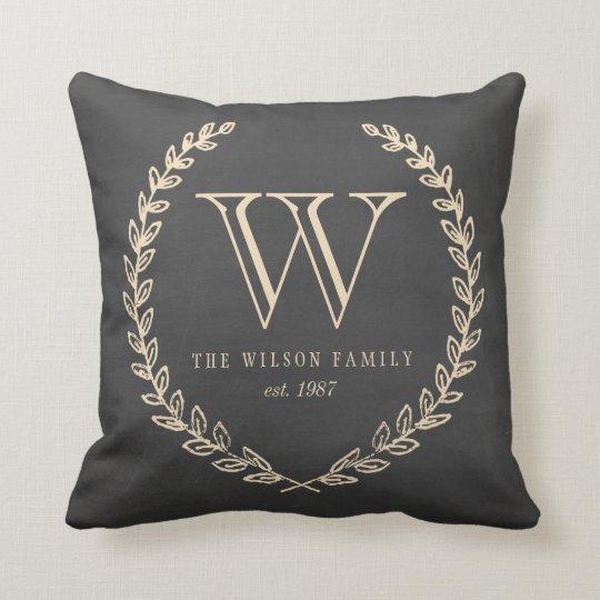 Chalkboard Style Monogram Pillow Zazzle Com