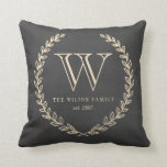 Chalkboard Style Monogram Pillow<br><div class='desc'>Back and ivory chalkboard style monogram design by Shelby Allison.</div>