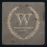 "Chalkboard Style Monogram Tile Stone Coaster<br><div class=""desc"">Back and ivory chalkboard style monogram design by Shelby Allison.</div>"