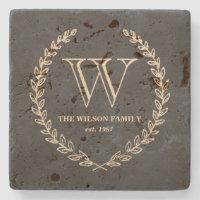Chalkboard Style Monogram Tile Stone Coaster