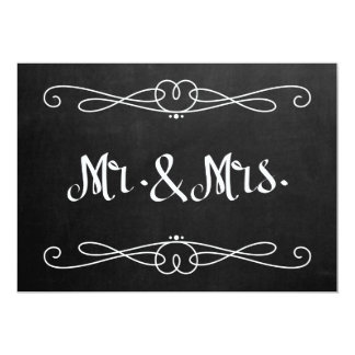 """Chalkboard Style """"Mr. and Mrs."""" Wedding Sign Card"""
