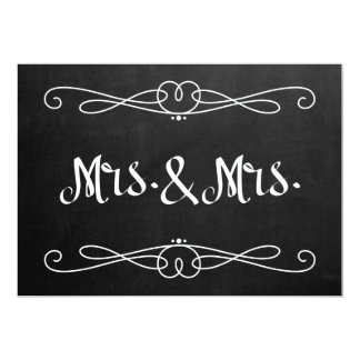 """Chalkboard Style """"Mrs. and Mrs."""" Wedding Sign Card"""