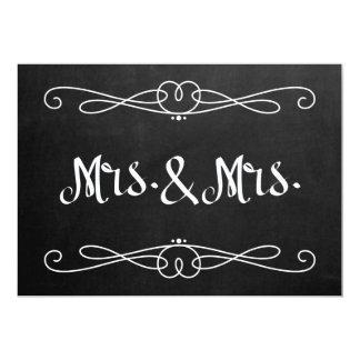 "Chalkboard Style ""Mrs. and Mrs."" Wedding Sign Invitation"