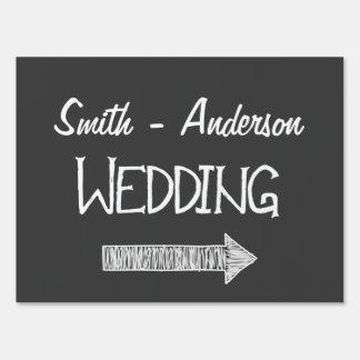 Chalkboard Style Personalized Wedding Direction Yard Sign