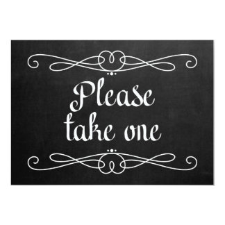 "Chalkboard Style ""Please take one"" Wedding Sign Card"