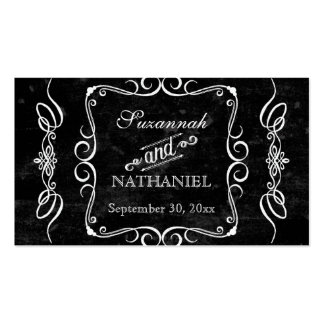Chalkboard Style Rustic Swirl Couples Favor Tags Double-Sided Standard Business Cards (Pack Of 100)