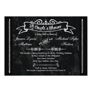 Chalkboard Style Rustic Swirl Couples Shower Card Custom Invites